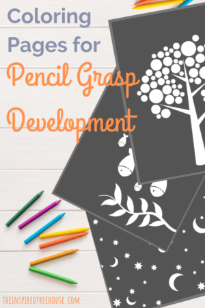Coloring pages with black background for pencil grasp development.